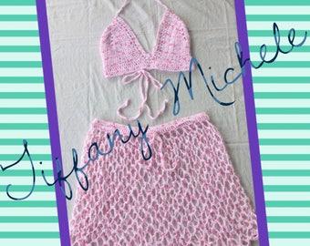 Handmade Crochet Bubble Gum Pink Top and Skirt Swim Beach Cover Up