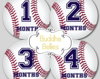 READY TO SHIP Monthly Baby Stickers Baby Boy Baseball Monthly Stickers Monthly Bodysuit Stickers Baby Month Stickers Baby Monthly Sticker