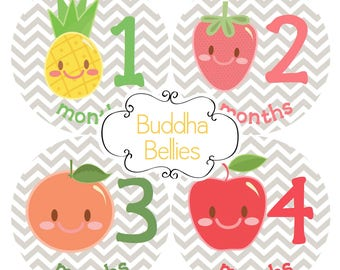 TUTTI FRUTTI Baby Monthly Stickers / Peach / Apple / Pineapple / Strawberry Baby Girl Month Stickers Fruit Baby Shower Baby Month Stickers
