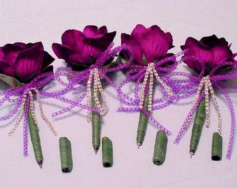Rhinestone Purple Silk Flower Pens // Rhinestones // Wedding  Rhinestone Flower Pen Favors// /4 Flower Pens