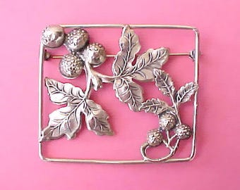 Lovely and Unusual Antique Sterling Silver Brooch with Berries