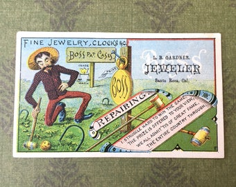 Cute and Unusual Old Santa Rosa Jeweler's Victorian Trade Card