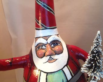 Hand Painted Santa Gourd with Tree and Bird
