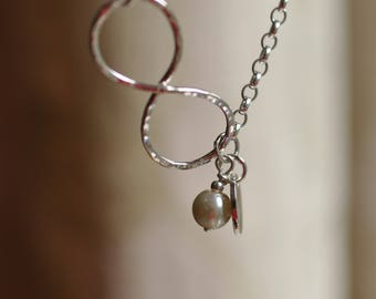 Sterling silver bridesmaids infinity bracelet with pearl, hand forged