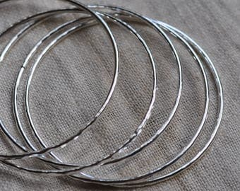 Five sterling silver bangles, hammered, hand forged, unique, rustic