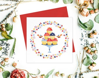Cupcake Greeting card / greeting cards set - Birthday Cards, Thank You cards, Get Well cards, Stationery, Friend cards, Baby Shower Cards
