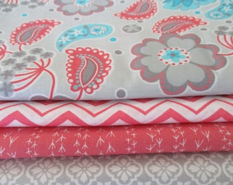 FREE SHIPPING, Quilting Fabric Bundle, Fabric by the Yard,  1/2 Yard Fabric Bundle, Total 2 Yards,  Cotton Fabric,  Designer Fabric