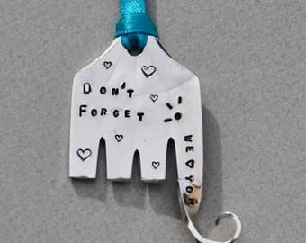 Large Elephant Ornament // Don't FORGET We love you //  Eyelashes and Hearts // recycled serving fork silver plate  Teal Ribbon *