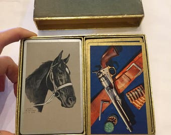 Vintage 1950s Gladys Emerson Cook Black Horse Congress Playing Cards ~ Cel-u-tone finish