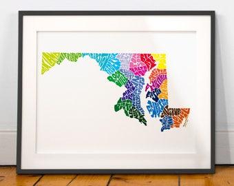 Maryland City Typography Map Print, Maryland wall decor, Maryland typography map art