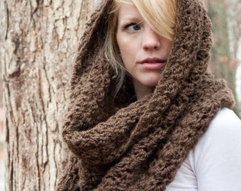 FLASH SALE Chunky Cowl Scarf Shawl Hood - Mocha/Bark - large - limited quantities - the CHARLOTTE