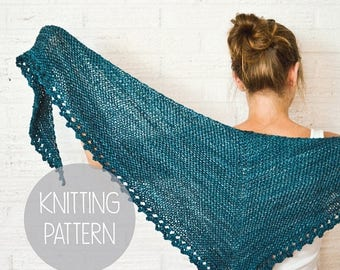 FLASH SALE knitting pattern asymmetric knit spring textured shawl - the solstice scarf