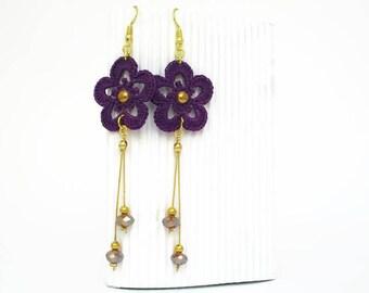 Long earrings - Purple and golden - Crochet earrings