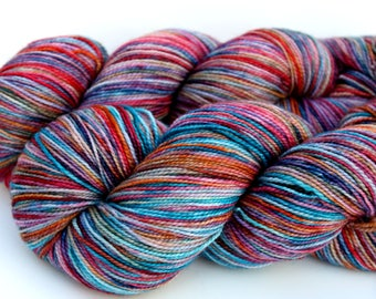 "Kettle Dyed Sock Yarn, Superwash Merino, Nylon and Stellina, in ""Magic Carpet"""