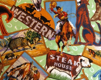 Cowboy rodeo western fabric, horse cowboy hat boots, western cattle drive, chuck wagon breakfast, by the yard