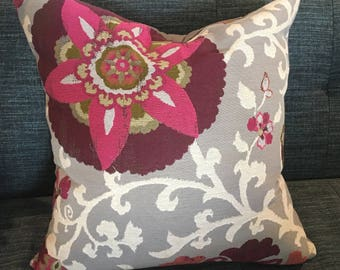 IN STOCK / Pink, Grey, Purple and Orange Pillow Cover / 22 X 22 /  Designer Upholstery Front with Grey Solid Back