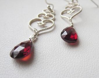 AAA Mozambique Garnet Sterling Silver Stacked Heart Earrings