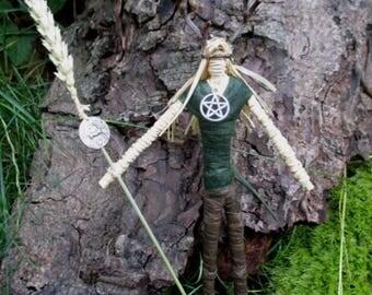 Handmade Positively Pagan Horned God Lugh.  Sun God of Lughnasadh. Wheat Altar figure.