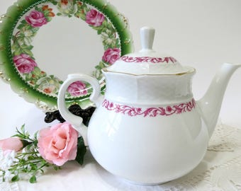 Vintage Teapot by Thun TK of Czechoslovakia, White w Dark Pink Floral Band, Gold Trim, Vintage Tea Time by TheSweetBasilShoppe