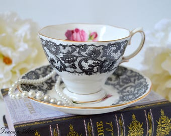 ON SALE Royal Albert Vintage Senorita Teacup And Saucer, English Teacup With Black Lace, Wedding Gift, ca 1950
