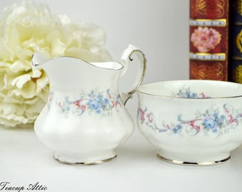 Paragon Romance Small Cream and Open Sugar Dish, English Bone China Replacement Cream and Sugar Set, 1960