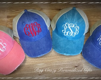 Distressed Monogram Hat, Personalized Hats, Trucker Hat, Distressed Hat, Womens Hats, Trucker Hats, Personalized Hat, distressed trucker hat