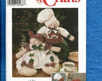 15% OFF SALE Simplicity 9880 Sweet Chubby Chef & Cook Holiday Dolls Pattern Size 16 inch Dolls UNCUT