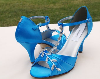 Blue Wedding Shoes with Silver Swarovski Crystals,Mid high heels peep toe, covered heel ankle strap, hand dyed satin, bling , satin heels