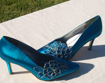 """Teal Satin & Lace Wedding Shoes Sexy Heels, 3 1/2"""" Closed Toe Heels,Pointy Toe Satin Pumps,Teal Wedding,Peacock sexy pump Shoe,ready to ship"""