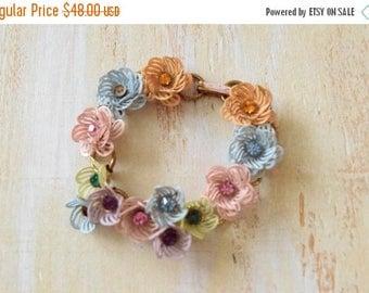 25% OFF SALE Vintage 1950's  Pastel Flower Bracelet