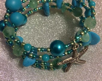 Blue and green glass and plastic bead starfish Memory Wire Cuff Fashion Trend Bracelet by JulieDeeleyJewellery on Etsy