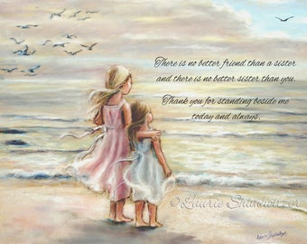 "PERSONALIZED, Names, Hair-color, quotes added, Girls, Sisters, Beach,  ""The Ocean's Lullaby""  Laurie Shanholtzer"