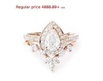 Summer Sale! Pear Diamond Halo Engagement Ring + Matching Marquise Crown Ring Side Band, 14k or 18k Gold Diamond Bridal Set, Diamond Engaeme