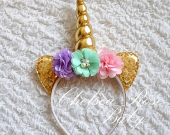 Pink and Gold Unicorn Birthday HEADBAND, Personalized Unicorn Headband, Unicorn Birthday outfit, Girls Birthday Unicorn, Gold Unicorn