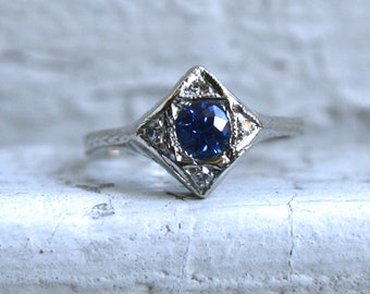 Sweet Vintage 14K White Gold Sapphire and Diamond Engagement Ring.