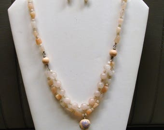 CALSITE and CERAMIC beads NECKLACE and earrings