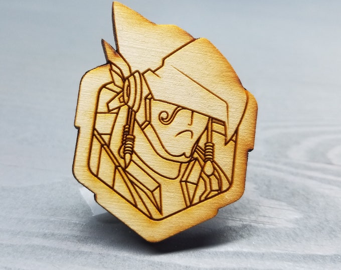 Pharah Overwatch Pin   Laser Cut Jewelry   Wood Accessories
