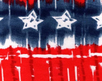 Snuggle Flannel Prints - Red White Blue Star Tie Dye - 33 inches