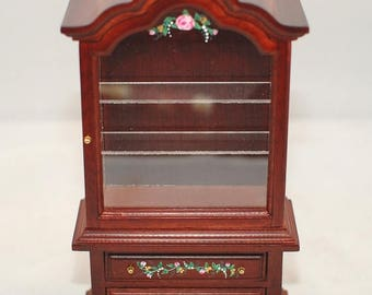 SPECIAL SALE Mahogany Victorian CURIO Cabinet Hand-Painted 3D Roses 1:12 Dollhouse Miniature