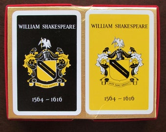 William Shakespeare Quadricentennial Playing Cards Double Sealed Decks in Box Made in England by Waddingtons