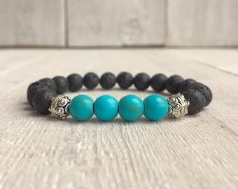 Lava Stone Bracelet • Aromatherapy • Turquoise • Diffuser • Aromatherapy Bracelet • Essential Oil Bracelet • Healing Bracelet