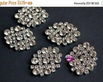 ON SALE Metal Rhinestone Buttons Crystal Clear FLATBACK 35mm X 28mm - Flower Centers - Wedding Bridal Prom - Rhinestone Jewels - Bling - Diy
