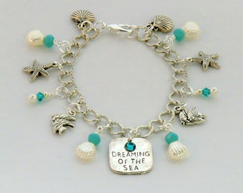 Dreaming of the Sea charm bracelet, silver and aqua fish, starfish, shell charm bracelet, ocean pearl shell charm bracelet, beach bracelet