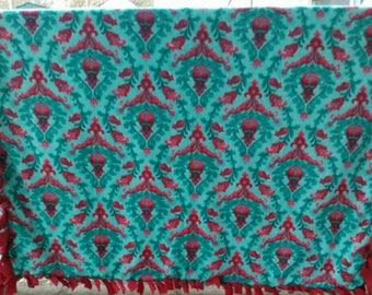 Red and Teal Floral Tied Fleece Blanket