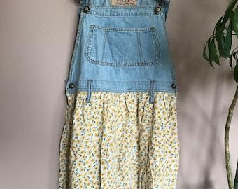 Vintage Floral Shorts Overalls