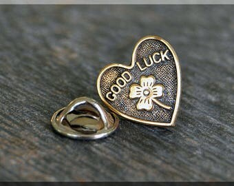 Brass Good Luck Heart Tie Tac, Lapel Pin, Brooch, Gift for Him, Gift Under 10 Dollars, St Patricks Day Heart Tie Tack, Love Unisex Pin
