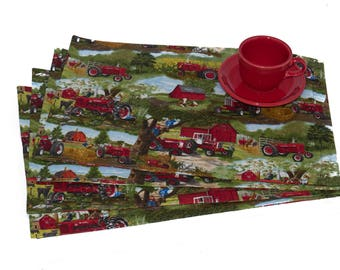 Farmall Tractor Placemats, Farm Scene, Set of Four