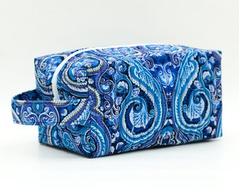 Blue Paisley and Swirls Quilted Cosmetic Bag with Handle, Boxy Pouch; Boxy Bag; Make-Up Bag; Travel Bag; First Aid Kit; Shave Bag;