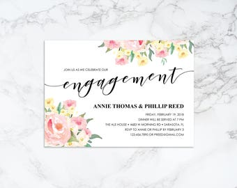 Printable Watercolor Floral Engagement Invitation