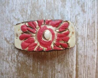 Flower Bracelet Connector Yellow purple Rustic Earthy Funky Cuff Ceramic Bracelet